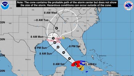 Forecast path of Hurricane Ida on Friday afternoon.