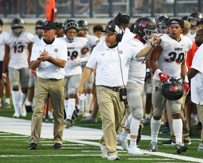 Bowie head coach Jeff Ables led the Bulldogs to a 35-7 win over Del Valle Friday.