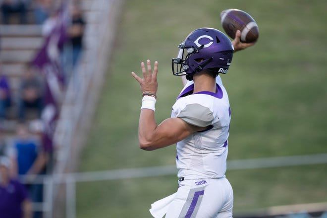 Canyon's Derrek Clements (9) attempts to throw the football during a nondistrict game Friday, Aug. 27, 2021 against Randall at Happy State Bank Stadium in Canyon.