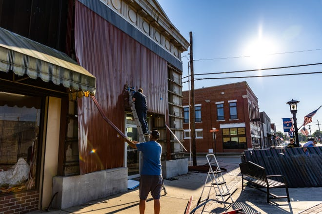 The metal facade covering The Security National Bank in Dewey was removed last week.