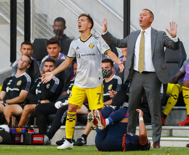 Columbus Crew head coach Caleb Porter yells from the sideline during the first half of a MLS match between the Columbus Crew and FC Cincinnati on Friday, Aug. 27, 2021 at Lower.com Field in Columbus, Ohio.