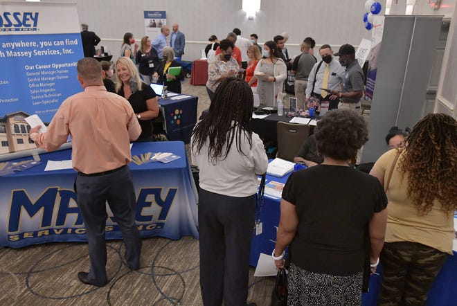 A steady stream of job seekers made their way through the booths of about 30 Jacksonville employers at the Job News USA job fair held inside the Doubletree by Hilton Jacksonville Riverfront on Aug. 26.  According to Andrew Lemister, the district manager for Job News USA the event was on track to serve 200-250 potential employees during the four hours it was open. With many people leaving the job market due to disruptions in business operations and personal lives because of the COVID-19 pandemic.