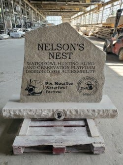 Nelson's Nest is the name of a waterfowl hunting blind and observation platform for the handicapped being built at the Pointe Mouillee State Game Area by private donors and the Pointe Mouillee Waterfowlers Association.