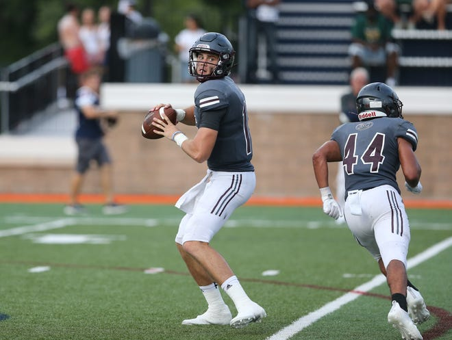 Benedictine quarterback Holden Geriner looks to pass the ball during the Cadets' season-opening game in Savannah against Christopher Columbus of Miami.