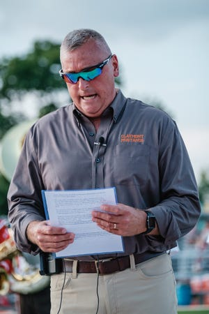 Scenes from the Canton South at Claymont High School Football game Friday, August 27 at Claymont Stadium. Claymont debuted a new stadium and turf field for their first official home opener of the 2021-22 season. Claymont City School Superintendant Brian Rentsch is pictured giving opening remarks.