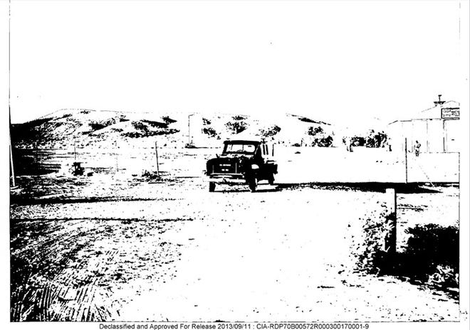 Area 51 insiders needed special permits and highway patrol escorts in the 1960s to maneuver through the High Desert. An overnight stay in Barstow was crucial to the journey, and this CIA-declassified photo is said to have been taken in the city during one of those stays.