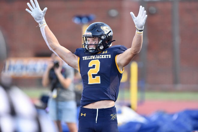 Stephenville receiver Coy Eakin (2) celebrates one of his three touchdown catches during Friday's Big Country Game of the Week against Sweetwater at Tarleton Memorial Stadium on Aug. 27.