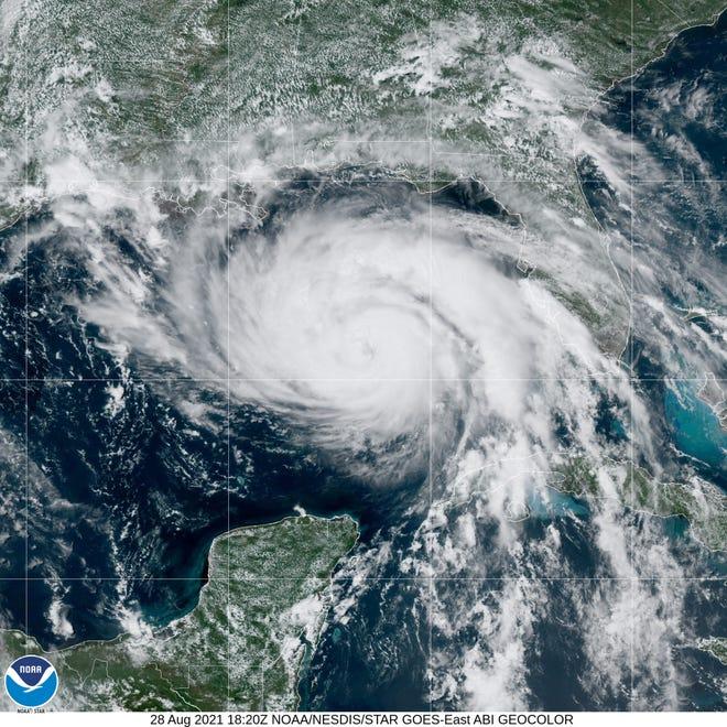 Hurricane Ida churns in the Gulf of Mexico Saturday, Aug. 28, 2021.