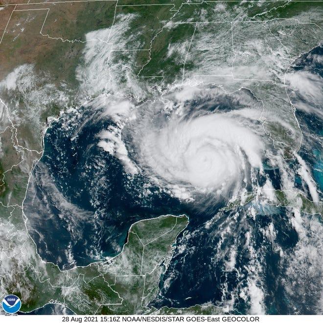Latest satellite imagery for Hurricane Ida on Saturday, Aug. 29, 2021.