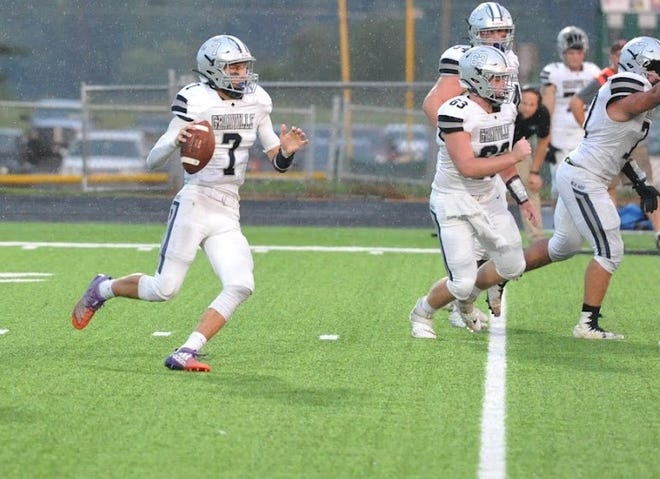 Granville's Carsyn Crouch looks for a running lane during a win over the Clear Fork Colts on Friday night.