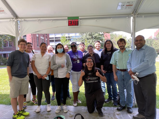 Students and faculty from Navajo Technical University and Harvard University are pictured on Aug. 21 at the Harvard campus in Cambridge, Massachusetts.