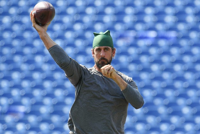 Green Bay Packers quarterback Aaron Rodgers (12) warms up prior to the game against the Buffalo Bills at Highmark Stadium.