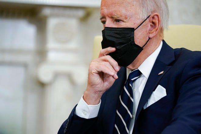 President Joe Biden listens as he meets with Israeli Prime Minister Naftali Bennett in the Oval Office of the White House, Friday, Aug. 27, 2021, in Washington. (AP Photo/Evan Vucci)