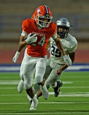 San Angelo Central's Kente Nichols (24) returns a kick during the season opener against Killeen Shoemaker at San Angelo Stadium on Friday, Aug. 27, 2021.