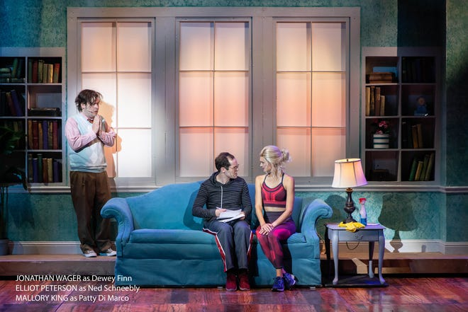 """Jonathan Wager as Dewey Finn, Elliot Peterson as Ned Schneebly and Mallory King as Patty Di Marco in a scene from """"School of Rock"""" at the Tuacahn Center for the Arts in Ivins, Utah."""