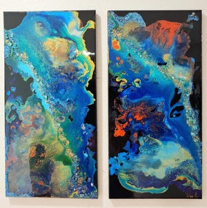 Mangroves Diptych by artist Quia Z Atkinson is part of the In Flux exhibit at the Artport Gallery.