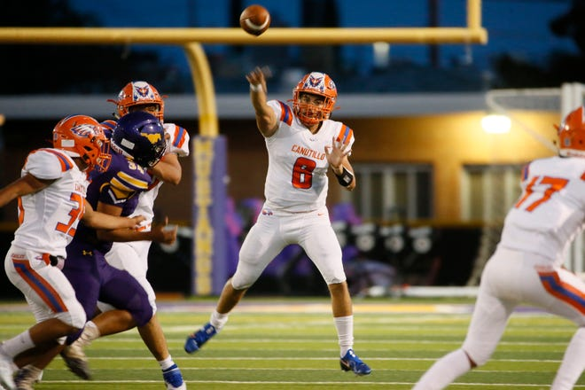 Canutillo's Devin Granados during the game against Burges Friday, Aug. 27, 2021, at Burges High School in El Paso.
