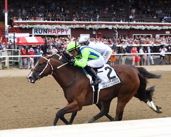 Jackie's Warrior (2) edged Life is Good in the Grade 1, H. Allen Jerkens Memorial Stakes going 7 furlongs on Saturday at Saratoga Racetrack in New York.  Joel Rosario was the winning jockey.