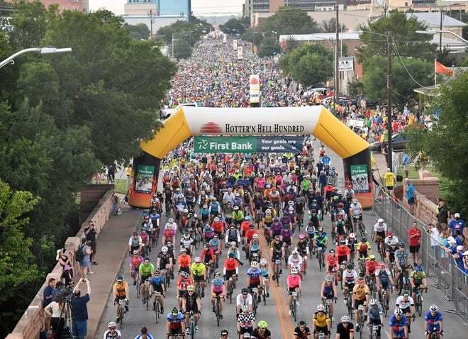 More than 10,000 riders participated in the 40th Annual Hotter 'N Hell Hundred Saturday. Cyclists could choose the 100-mile Endurance Ride or other routes including 75-mile, 100 Km, 50 mile, 25 mile and 10 Km.