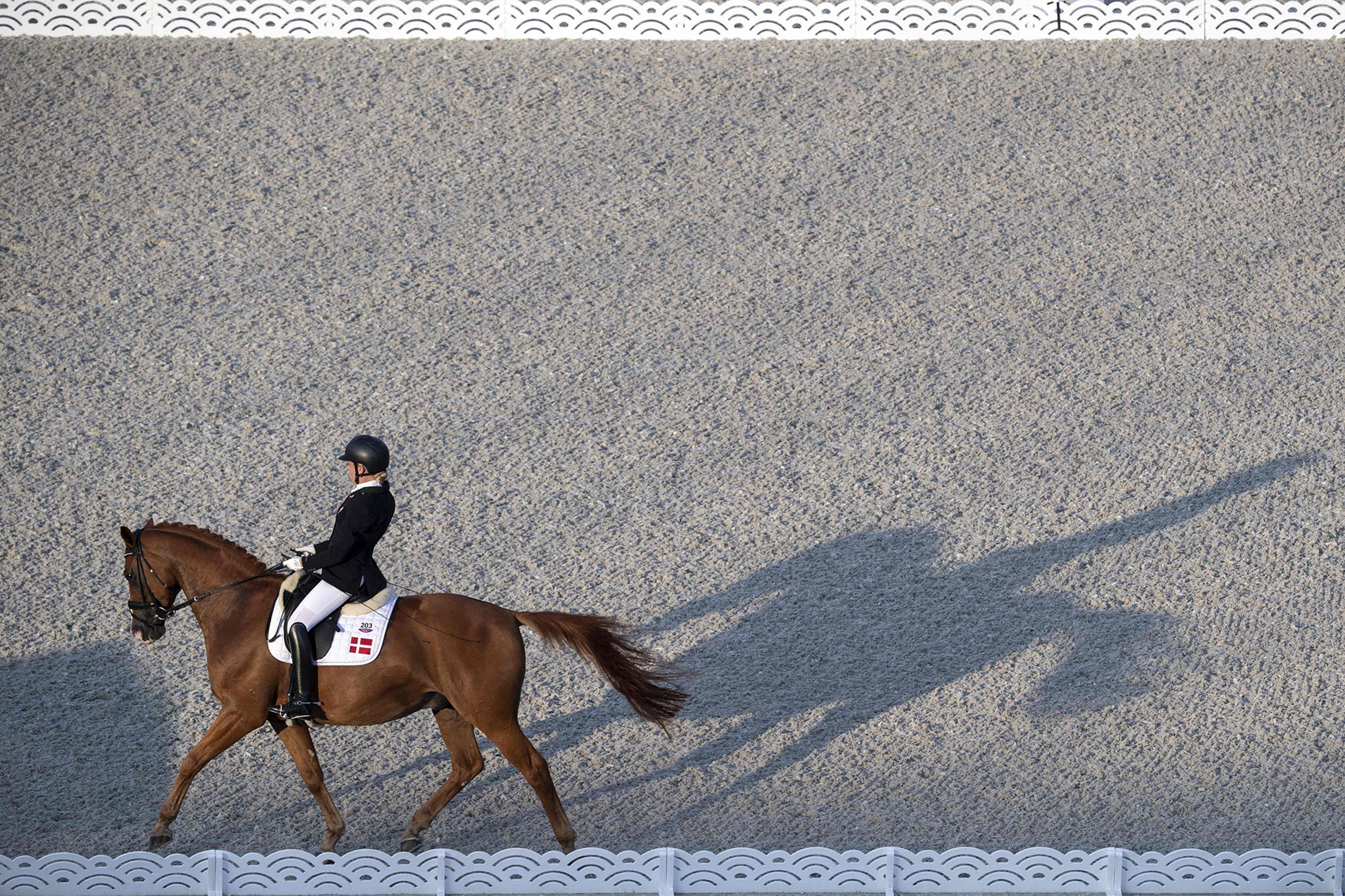 Aug. 28, 2021: Denmark's Katrine Kristensen riding Welldone Dallas competes in the equestrian dressage team test to music grade II during the Tokyo 2020 Paralympic Games at Equestrian Park in Tokyo.