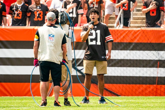 Gerard Berroteran, a 2019 graduate of Cuyahoga Falls High School, performs the national anthem prior to the Cleveland Browns' preseason game against the New York Giants. Berroteran is from Silver Lake and is a junior at The Ohio State University.