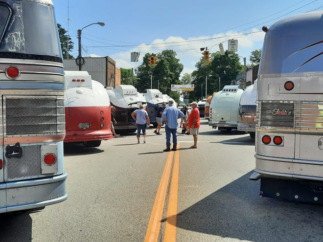 Flxible buses were parked Saturday on Main Street in downtown Loudonville for the public to view them. There also was a parade of the buses Saturday owned by members Flxible Owners International, which had the Flxible Bus Rally in Loudonville from Aug. 25-29.
