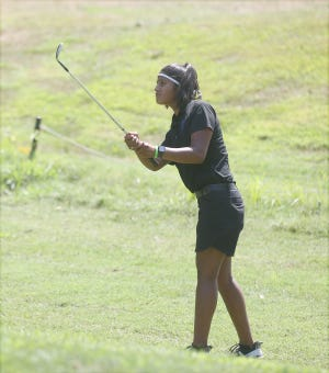 Boonville golfer Hannah LeGrant watches the flight of the ball on No. 11 Friday during the 3 Par Challenge at Hail Ridge Golf Course in Boonville.