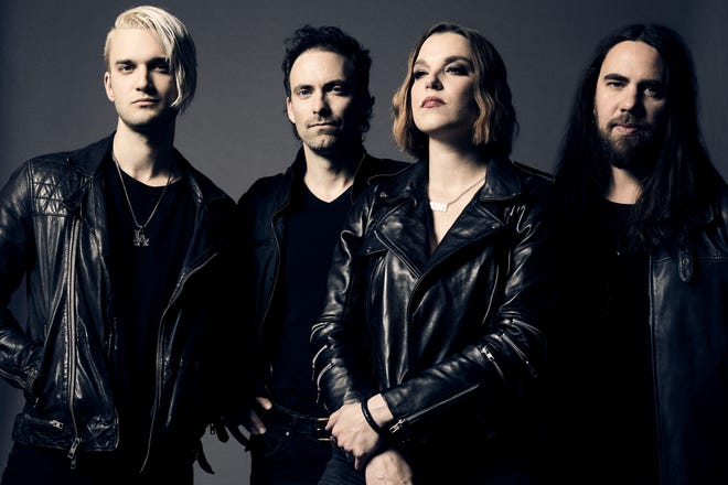 The hard rock band Halestorm is, from left, Arejay Hale, drums; Josh Smith, bass; Lzzy Hale, vocals and guitar, and Joe Hottinger, guitar.
