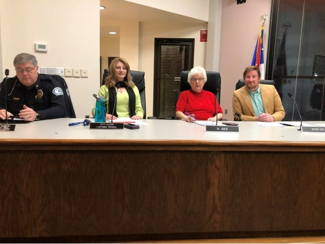 The Milan City Council (left to right): Police Chief Donald Tillery, Clerk Lavonna Wenzel and Council members Ann Gee and Jesse Nie.