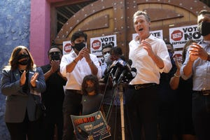 Gov. Gavin Newsom makes a statement against his recall while meeting with Latino leaders at Hecho en Mexico restaurant in East Los Angeles on Aug. 14, 2021.