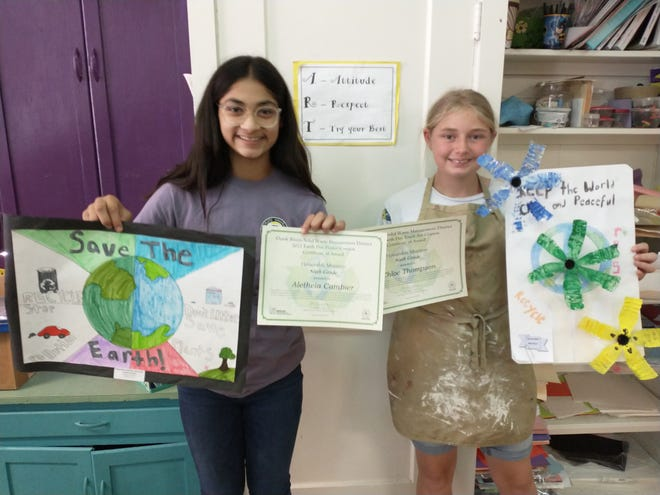 four Richland Elementary students were honored with awards in the 30th Annual Earth Day Poster, Trash and Graphic Art contest.