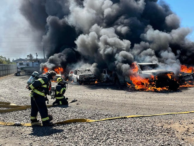 A car lot in northwest Eugene caught fire Sunday afternoon.