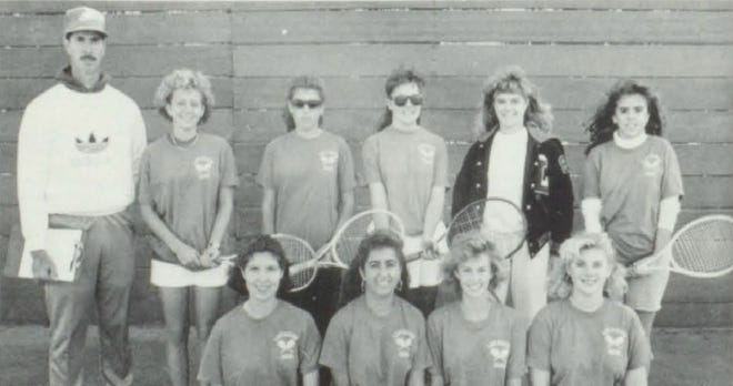 Pictures of the Past is from the 1989 Lincoln Community High School yearbook. The photo shows members of the Girls' Tennis team. In front from left: J. Frantz, H. May, R. Merrill and K. Harmer. Secont row: Coach R. Boyer, L. Eskra, K. Steele, L. Armour, M. Janet and M. Hedrick. The top combination in doubles in 1988 was the combo of Lori Eskra and Kim Steele. Michelle Janet and Heather May played in the number one doubles while Kim Steele, a junior, was the top single player.