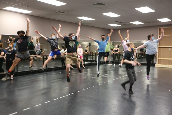 """""""A Chorus Line"""" performers practice a dance number Saturday during rehearsal at Topeka Performing Arts Center."""
