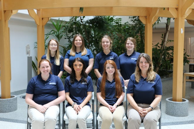 Histotechnology graduates from left, front row are: Samantha Custer of Boswell, Cloe Knupp of Donegal, Sydney Distefano of Johnstown, Inger Brix of Virginia. Back row: Lindsey Alochney of Forest Hills, Lisa Coy of Lancaster County, Richelle Brown of Claysburg, and Jamie Jones of Rockwood