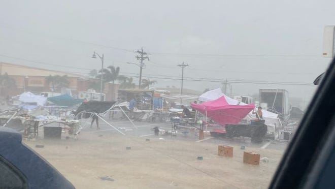 A storm that blew through Cape Coral Saturday destroyed tents and stands at the Cape Coral Farmers Market  at SE 47th Terrace & SE 10th Place.