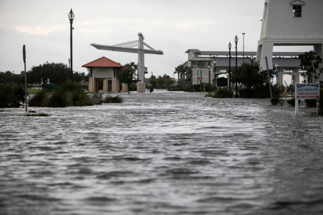 Jones Park in Gulfport, Miss., is flooded early Sunday, Aug. 29, 2021, from Hurricane Ida's storm surge ahead of the storm's landfall.