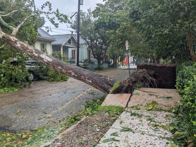 Damage seen in New Orleans as Hurricane Ida passes through the area.