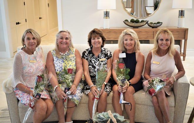 Happy birthday, from left, Brenda Papszycki, Lori Donatelli, Doris Maynard, Peggy Palmer and Natalie Murat.