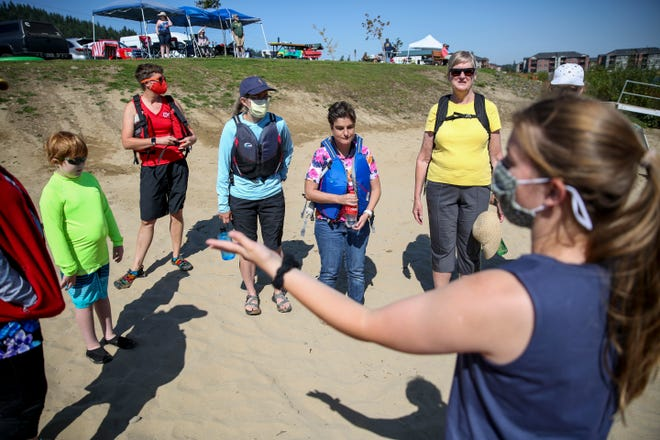 Northwest Association for Blind Athletes hosts a kayaking clinic for individuals who are blind or visually impaired on Saturday, Aug. 28, 2021 at Turner Lake in Turner, Ore.