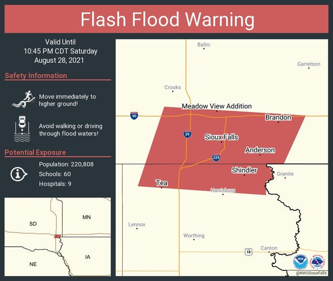 Flash Flood Warning for Sioux Falls and surrounding areas on Saturday, August 28, 2021.