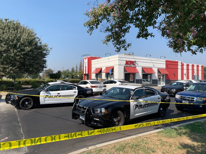 KFC parking lot in Mary's Vineyard is closed after a shooting Sunday afternoon.