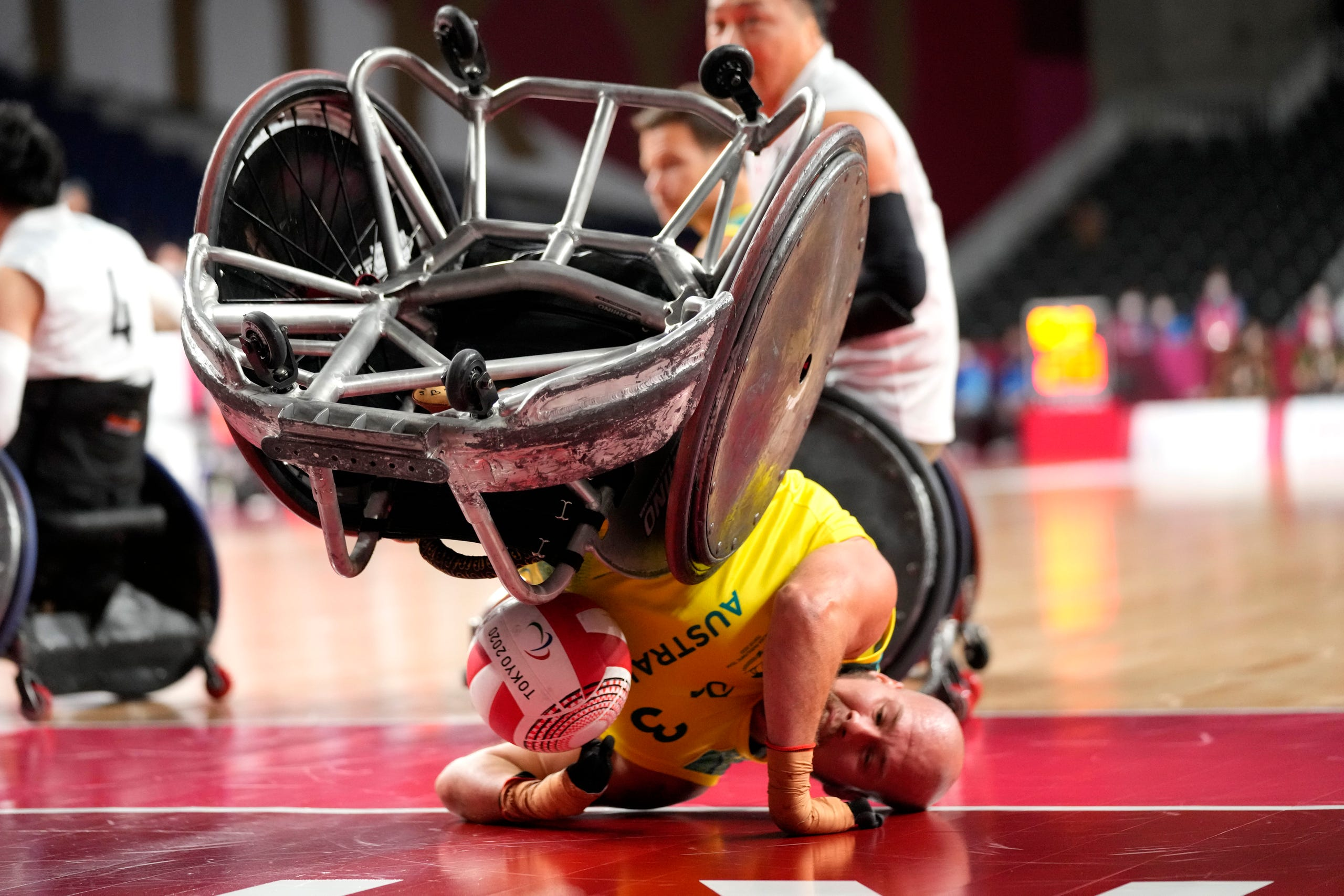 August 29, 2021: Australia's Ryley Batt falls during the wheelchair rugby bronze medal match against Japan at the Tokyo 2020 Paralympic Games in Tokyo, Japan.