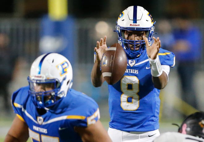Pflugerville quarterback Jaylon Reeves hurt the Laredo United defense with both his arm and legs, completing 14-of-21 passes for 182 yards and a score and carrying it 14 times for 86 yards and four touchdowns in the Panthers' season-opening win.