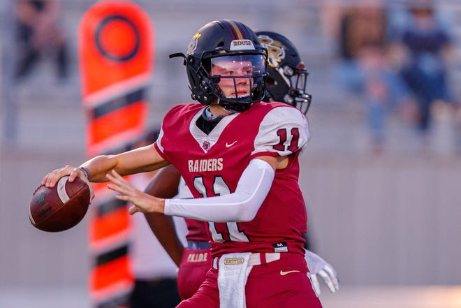 Rouse quarterback Mason Shorb threw for 393 yards and five touchdowns as the Raiders opened the season with a 44-7 win over Burnet.