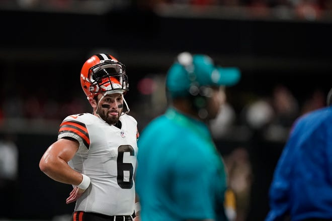 Browns quarterback Baker Mayfield (6) stands on the sidelines during the first half of Sunday night's preseason game against the Atlanta Falcons. [Brynn Anderson/Associated Press]