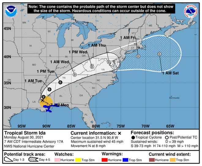 The National Weather Service predicts that Ida will not have a noticeable impact on northern Ohio's weather.