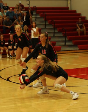 Junior Reagan Faber (front) and senior Ally Ringsby (16) are two Roland-Story volleyball players already stepping up to provide needed support for senior leaders Madison Geise and Reagan Barkema (rear) to start the 2021 season.