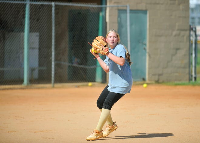 Jada Akeson throws to first base during a Cross Creek softball practice on Aug. 25. [WYNSTON WILCOX/THE AUGUSTA CHRONICLE]