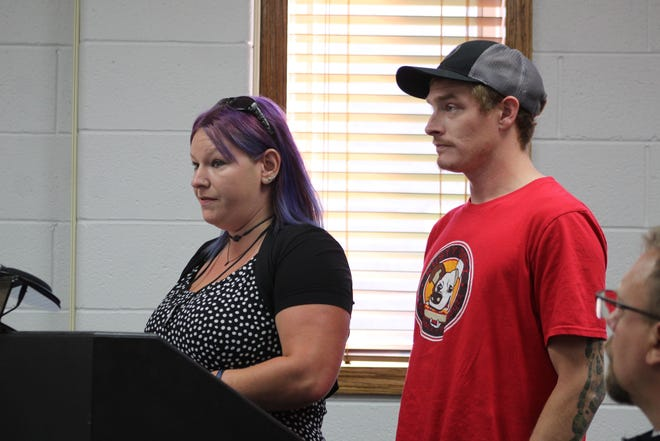 Liz Warner (left), who is promoting the event, and Dave Etherton, the owner of Rusty Dogz in Cheboygan, presented their request to the Cheboygan County Board of Commissioners Tuesday, Aug. 24, to use the Cheboygan County Fairgrounds for a hotdog eating contest.